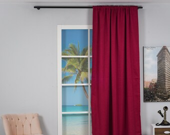 Linen Look,Solid Color,Decorative,Window Curtain 1 panel,Custom size,Made to order,Window Treatment,Home Decor,23 Colors,Office Decoration
