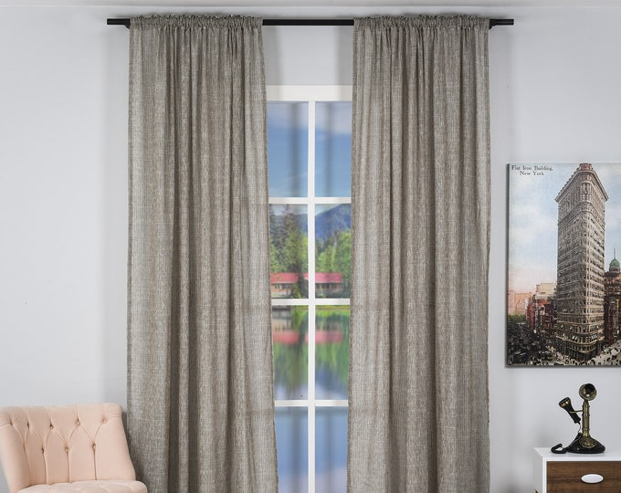 Set of 2 Luxury Sheers Curtain Panels,Rod pocket Curtains,Custom size,Custom made,Sheer,Linen Window Curtains,Made By order,Shabby Chic
