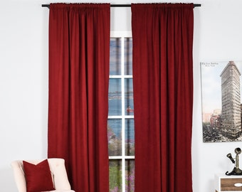 Burgundy,Velvet Look,Solid Color,Decorative,Window Curtain 2 panel sets,Made to order,Window Treatment,Home Decore Look,Solid Color Red