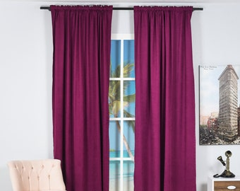 Purple Color Velvet Look,Solid Color,Decorative,Window Curtain 2 panel Set Made to order,Window Treatment,Home Decore Look,Solid Color