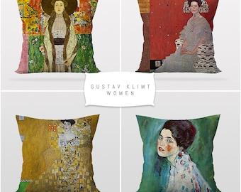 Gustav Klimt,The Women,Throw Cushion Pillow Cover,4 Pieces Set,Art Decor,Master Piece,Sofa Cushion Cover,Printable Art,Reversible 2 Sided