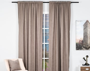 Dark Stone,Velvet Look,Solid Color,Decorative,Window Curtain 2 panel sets,Made to order,Window Treatment,Home Decore Look,Solid Color Velvet