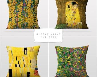 Gustav Klimt,The Kiss,Throw Cushion Pillow Cover,4 Pieces Set,Art Decor,Master Piece,Sofa Cushion Cover,Printable Art,Reversible 2 Sided