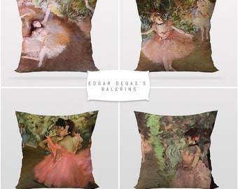 Edgar Degas Paintings,Ballerina Girls,Throw Cushion Pillow Cover,4 Pieces Set,Art Decor,Master Piece,Printable Art,Reversible 2 Sided