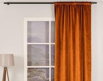 Burnt Orange 2 Luxury Velvet Curtains,Custom Made,Window Curtain Panel Drapery,Dining Room Curtains,Bedroom,Orange Velvet Fabric,Solid Color