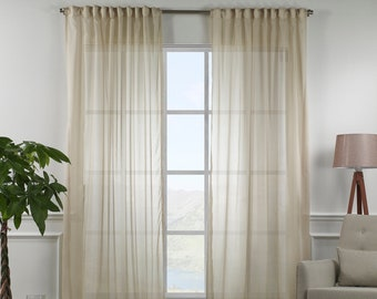 Beige Silk Crep Sheers curtain Panels,Rod pocket curtains,Custom size,Custom made,Sheer,Linen Window Curtains,Made By order,Shabby Chic