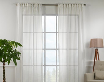 OffWhite Silk Crep Sheers curtain Panels,Rod pocket curtains,Custom size,Custom made,Sheer,Linen Window Curtains,Made By order,Shabby Chic