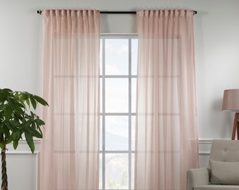 Pink Silk Crep Sheers curtain Panels,Rod pocket curtains,Custom size,Custom made,Sheer,Linen Window Curtains,Made By order,Shabby Chic