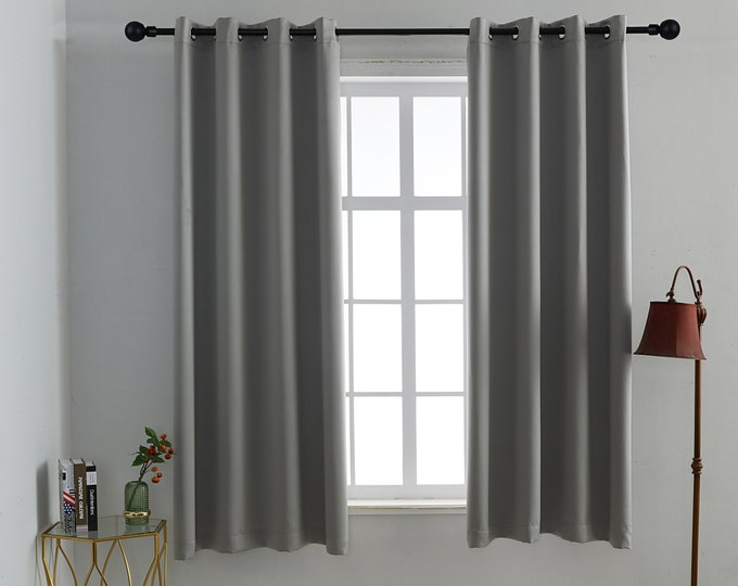 Light Grey Solid Colors,Window Curtain 2 panel sets,52*63 size,Blackout,Room darkering,Thermal insulated,Noise reducing,Eyelet