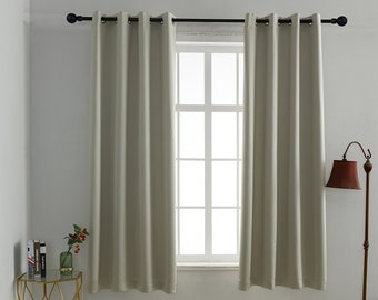 Ecru Solid Colors,Window Curtain 2 panel sets,,52*63 size,Blackout,Room darkering,Thermal insulated,Noise reducing,Eyelet