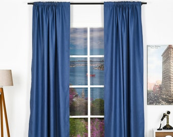 Linen look,Solid Color,Window Curtain 2 panel sets,Blackout,Room darkering,Custom size,Made to order,Thermal insulated,Noise reducing
