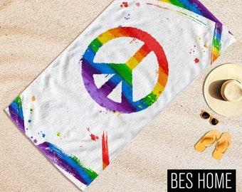 LGBTQ+ Gay Pride,%100 Turkish Beach towel,Custom Size,Gay Pride Day, Lesbian LGBTQ.Gay Friendly,Rainbow