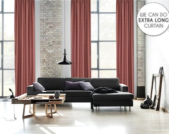 Extra Long Luxury Solid Rose Linen Look Curtain Custom Made 12 13 14 15 16 17 18 20 24 ft Pink Colors Linen Decorative Home Modern