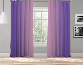Pink Purple Ombre Curtain Panel,Shades Symmetrical Ombre Custom Sized,Made to Order,Extra Long Curtain,Boho Dip Dye Curtain,Digital Ombre