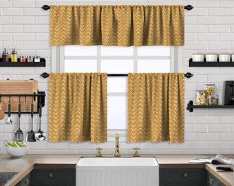 Mustard Yellow Boho Kitchen Curtain,African Mud,Window Valance,Blackout,Sheer,Decorative,Home Decor,Caffe Curtain,Custom Size,Made to order