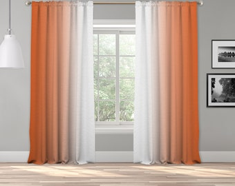 Orange Ombre Curtain Panel,Shades Symmetrical Ombre Custom Sized,Made To Order,Extra Long Curtain,Boho Dip Dye Curtain,Digital Ombre