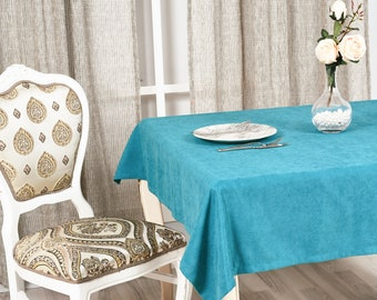 Blue Velvet Look Tablecloth in 31 colors,Softened Velvet Look Tablecloth,Tablecloth with Mitered Corners,Custom Size Tablecloth, Table cloth