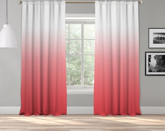 Coral Ombre Curtain Panel,Shades Ombre,Gradient Multicolor,Custom Size,Made To Order,Extra Long Size,Boho Dip Dye Curtain,Digital Ombre