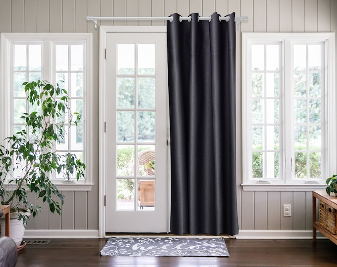 Anthracite Solid,Door Curtain 2 panel sets,Room Divider,Space Divider,Extra Long Door Curtain,Custom Order,Thermal insulated,Noise reducing