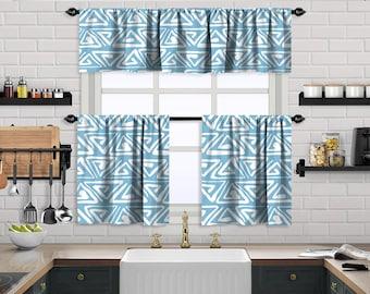 Baby Blue Boho Curtain,African Mud,Window Valance Treatments,Blackout,Sheer,Decorative,Valances Tiers Cafe Curtains,Custom Window Curtain