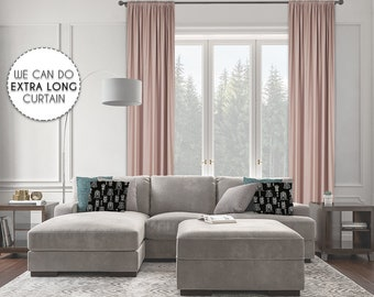 Extra Long Room Darkeing,Blush Pink Color,Blackout,Room Darkering,Thermal insulated,Noise reducing,Custom Made 12 13 14 15 16 17 18 20 24 ft