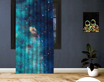 Space-X-II,Window Curtain 1 panel, Blackout , Room darkering,Custom size,Made to order, Termal insulited,Noise reducing