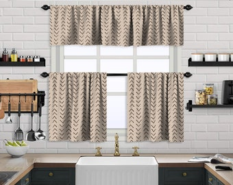 Ecru,Beige Boho Kitchen Curtain,African Mud,Window Valance,Blackout,Sheer,Decorative,Home Decor,Caffe Curtain,Custom Size,Made to order