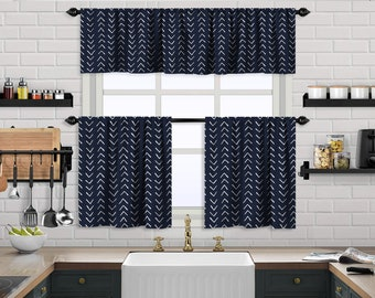Navy Blue Boho Kitchen Curtain,African Mud,Window Valance,Blackout,Sheer,Decorative,Home Decor,Caffe Curtain,Custom Size,Made to order