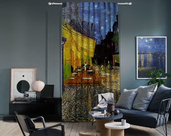 Vincent Van Gogh-Caffe Terrace at Night,Window Curtain 1 panel,Blackout,Room darkering,Custom size, Termal insulited,Noise reducing