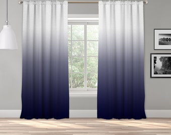 Navy Blue Ombre Curtain Panel,Shades Ombre,Gradient Multicolor,Custom Sized,Made To Order,Extra Long Size,Boho Dip Dye Curtain,Digital Ombre