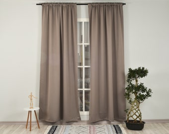 Mink Solid Colors,Window Curtain 2 panel sets,Blackout,Room darkering,Custom size,Made to order,Thermal insulated,Noise reducing