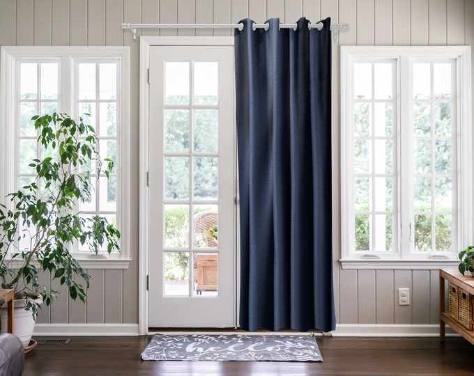 Navy Blue  Solid,Door Curtain 2 panel sets,Room Divider,Space Divider,Extra Long Door Curtain,Custom Order,Thermal insulated,Noise reducing