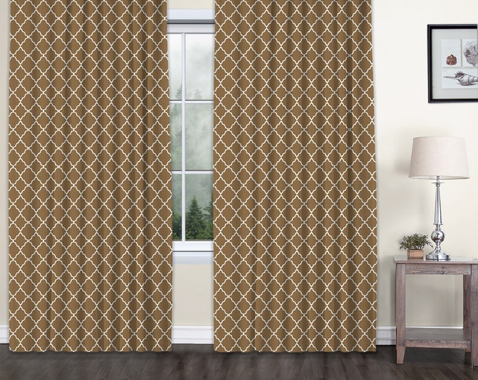 Classic Damask,Brown,Window Curtain 2 panels Set,Blackout,Room Darkering,Custom size,Termal insulated,Noise reducing,Window Treatments