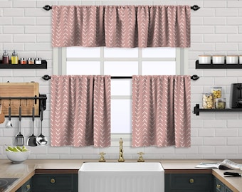 Baby Pink Boho Kitchen Curtain,African Mud,Window Valance,Blackout,Sheer,Decorative,Home Decor,Caffe Curtain,Custom Size,Made to order