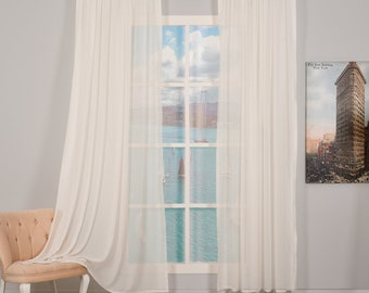 Set of 2 Silk Crep Sheers curtain Panels,Rod pocket curtains,Custom size,Custom made,Sheer,Linen Window Curtains,Made By order,Shabby Chic