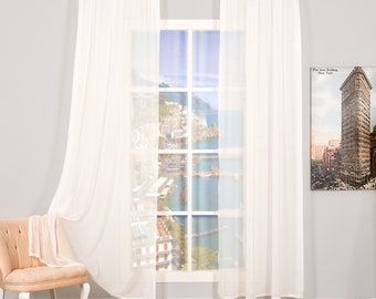Set of 2 Linen Looks Sheers curtain Panels,Rod pocket curtains,Custom size,Custom made,Sheer,Linen Window Curtains,Made By order,Shabby Chic