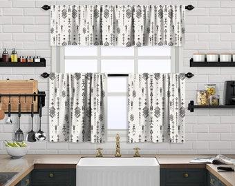 White Boho Curtain,African Mud,Window Valance Treatments,Blackout,Sheer,Decorative,Valances Tiers Cafe Curtains,Custom Window Curtain