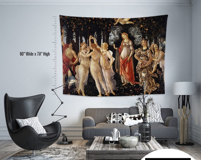 Sandro Botticelli - Primavera ,Fabric Wall Hanging,Tapestry,Textile Wall Hang,Wall Decoration,Master Piece Tapestry