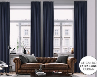Extra Long Luxury Solid Navy Blue Linen Look Curtain Custom Made 12 13 14 15 16 17 18 20 24 ft Dark Blue Colors Linen Decorative Home Modern