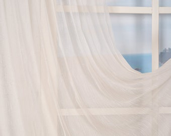 Set of 2 Linen Look Sheers curtain Panels,Rod pocket curtains,Custom size,Custom made,Sheer,Linen Window Curtains,White and Off White colour