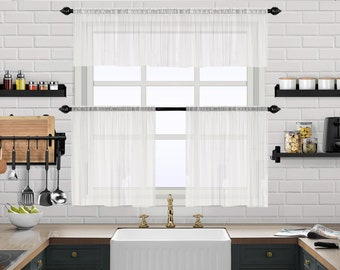 Linen Looks Sheer Valance Curtain,Caffe Curtains,Custom Valance,Sheer,Linen Window Curtains,Made By order,Shabby Chic,Kitchen Cafe Panel