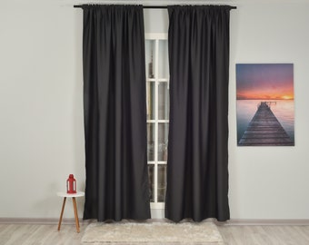 Anthracite Solid Colors,Window Curtain 2 panel sets,Blackout,Room darkering,Custom size,Made to order,Thermal insulated,Noise reducing