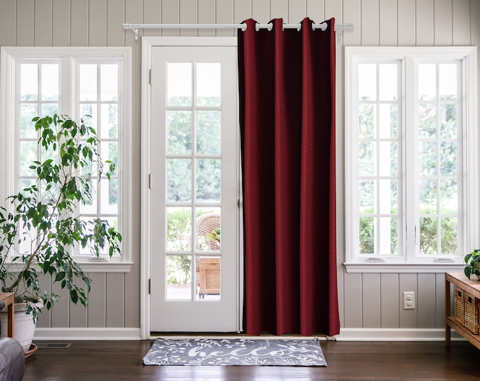 Burgundy  Solid,Door Curtain 2 panel sets,Room Divider,Space Divider,Extra Long Door Curtain,Custom Order,Thermal insulated,Noise reducing