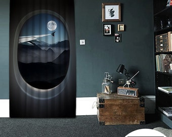 Bon mot,Flight Foggy Night,Window Curtain 1 panel,Blackout,Room darkering,Custom size,Made to order, Thermal insulited,Noise reducing