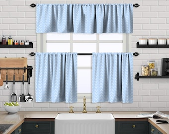 Baby Blue  Boho Kitchen Curtain,African Mud,Window Valance,Blackout,Sheer,Decorative,Home Decor,Caffe Curtain,Custom Size,Made to order