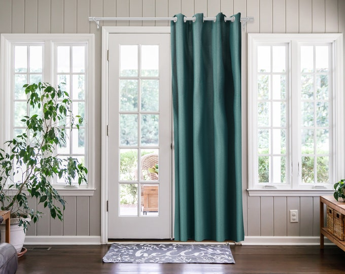 Teal Green Solid,Door Curtain 2 panel sets,Room Divider,Space Divider,Extra Long Door Curtain,Custom Order,Thermal insulated,Noise reducing