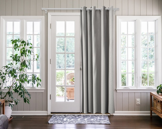 Silver Grey Solid,Door Curtain 2 panel sets,Room Divider,Space Divider,Extra Long Door Curtain,Custom Order,Thermal insulated,Noise reducing