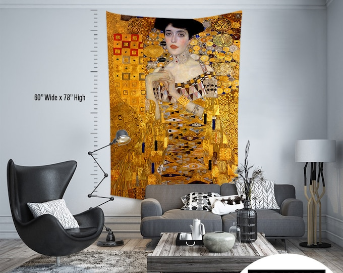 Gustav Klimt-Portrait of Adele Bloch Bauer, Fabric Wall Hanging,Tapestry,Textile Wall Hang,Wall Decoration,Master Piece Tapestry