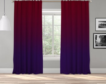 Red/Purple Ombre Curtain Panel,Shades Ombre,Gradient Multicolor,Custom Size,Made To Order,Extra Long Size,Boho Dip Dye Curtain,Digital Ombre