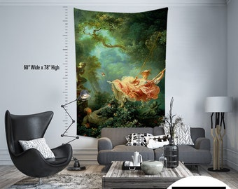 Jean Honore Fragonard - The Swing,Fabric Wall Hanging,Tapestry,Textile Wall Hang,Wall Decoration,Master Piece Tapestry